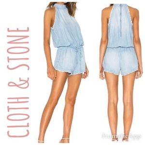 Anthropologie | Cloth & Stone Chambray Romper